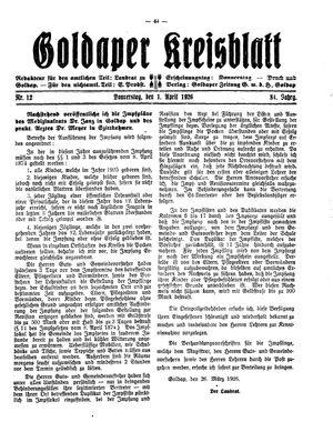 Goldaper Kreisblatt vom 01.04.1926