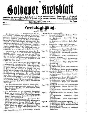 Goldaper Kreisblatt vom 08.04.1926