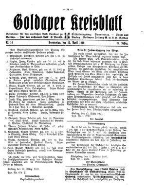 Goldaper Kreisblatt vom 15.04.1926