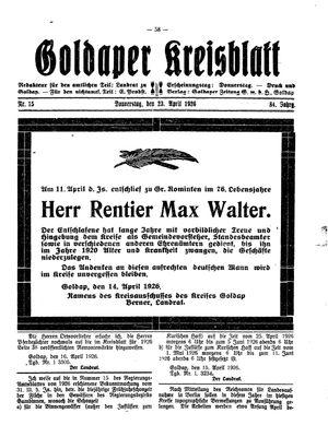 Goldaper Kreisblatt vom 22.04.1926