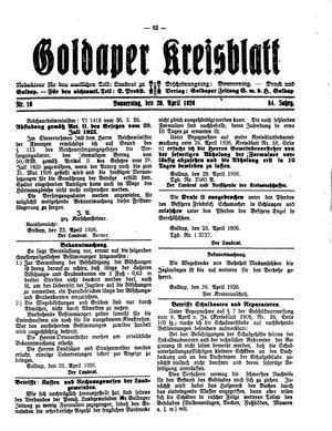 Goldaper Kreisblatt vom 29.04.1926