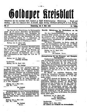 Goldaper Kreisblatt vom 06.05.1926