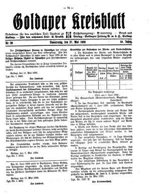 Goldaper Kreisblatt vom 27.05.1926