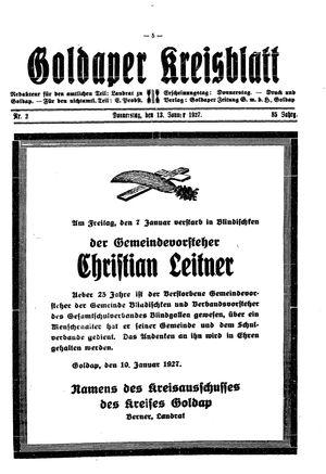 Goldaper Kreisblatt vom 13.01.1927