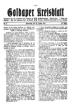 Goldaper Kreisblatt vom 20.01.1927
