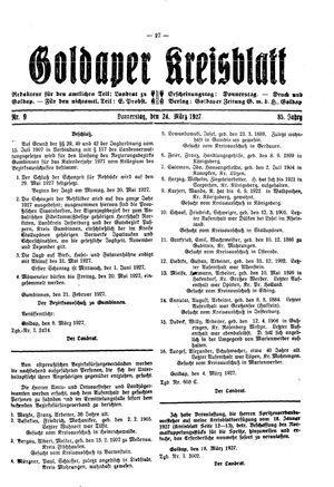 Goldaper Kreisblatt vom 24.03.1927
