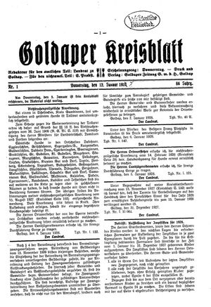Goldaper Kreisblatt on Jan 12, 1928