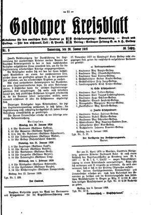 Goldaper Kreisblatt vom 26.01.1928