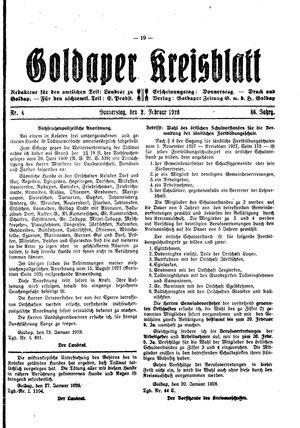 Goldaper Kreisblatt vom 02.02.1928