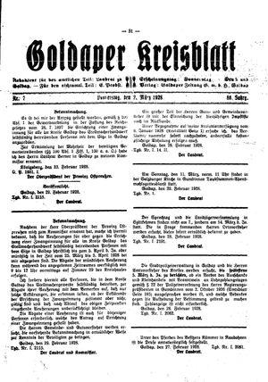 Goldaper Kreisblatt on Mar 1, 1928