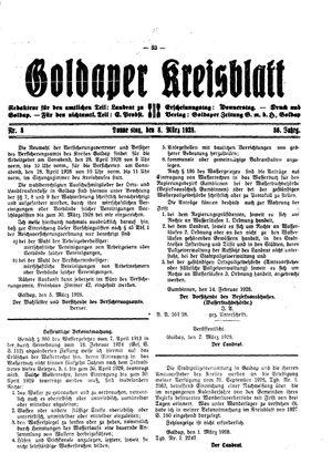 Goldaper Kreisblatt on Mar 8, 1928