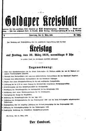 Goldaper Kreisblatt vom 15.03.1928