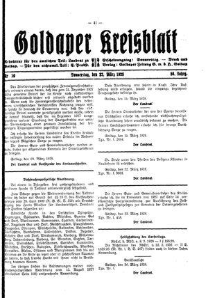 Goldaper Kreisblatt vom 22.03.1928