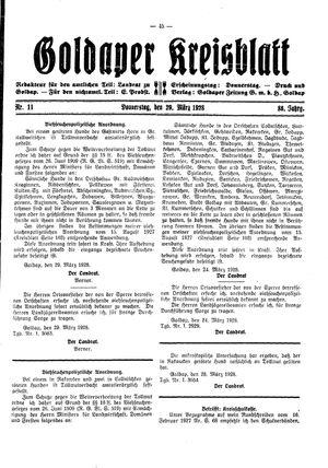 Goldaper Kreisblatt vom 29.03.1928