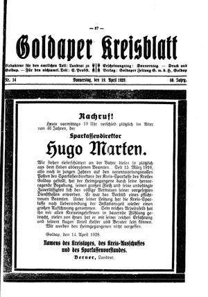 Goldaper Kreisblatt vom 19.04.1928
