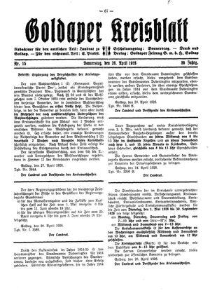 Goldaper Kreisblatt vom 26.04.1928