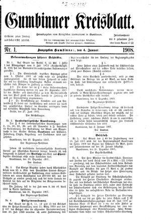 Gumbinner Kreisblatt vom 04.01.1908
