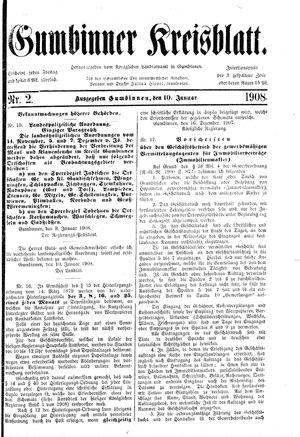 Gumbinner Kreisblatt vom 10.01.1908