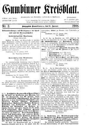 Gumbinner Kreisblatt vom 18.01.1908