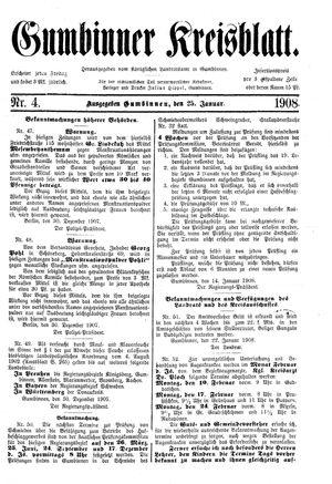 Gumbinner Kreisblatt vom 25.01.1908