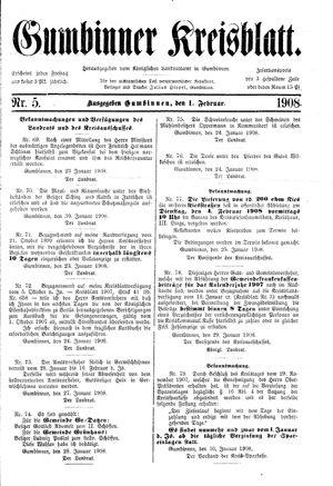Gumbinner Kreisblatt vom 01.02.1908