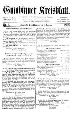 Gumbinner Kreisblatt vom 08.02.1908