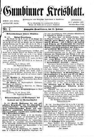 Gumbinner Kreisblatt vom 15.02.1908