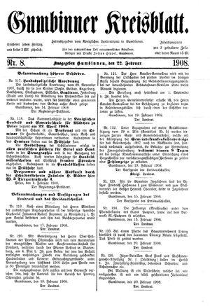 Gumbinner Kreisblatt vom 22.02.1908