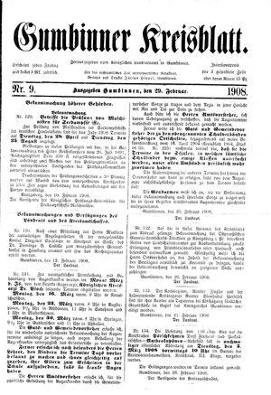 Gumbinner Kreisblatt vom 29.02.1908