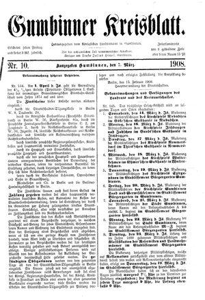 Gumbinner Kreisblatt vom 07.03.1908