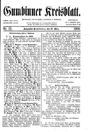 Gumbinner Kreisblatt vom 28.03.1908