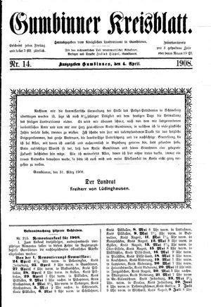 Gumbinner Kreisblatt vom 04.04.1908