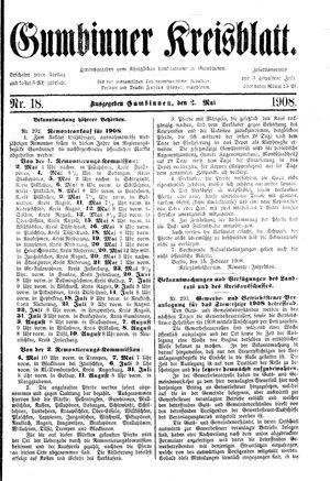 Gumbinner Kreisblatt vom 02.05.1908