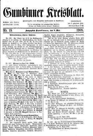 Gumbinner Kreisblatt vom 09.05.1908