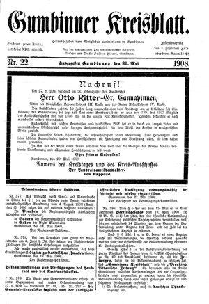 Gumbinner Kreisblatt vom 30.05.1908