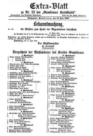 Gumbinner Kreisblatt vom 12.06.1908