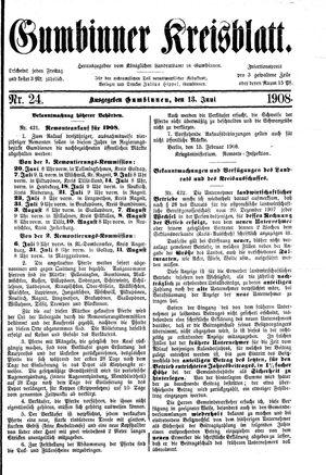 Gumbinner Kreisblatt vom 13.06.1908