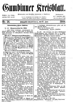 Gumbinner Kreisblatt vom 27.06.1908