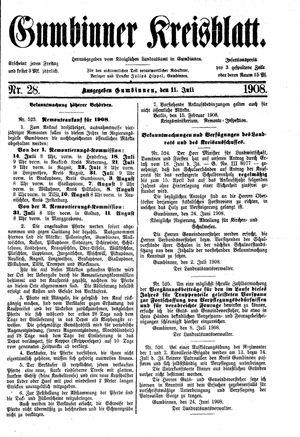 Gumbinner Kreisblatt vom 11.07.1908