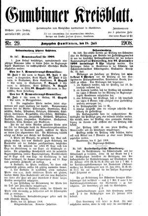 Gumbinner Kreisblatt vom 18.07.1908