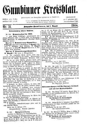 Gumbinner Kreisblatt vom 01.08.1908
