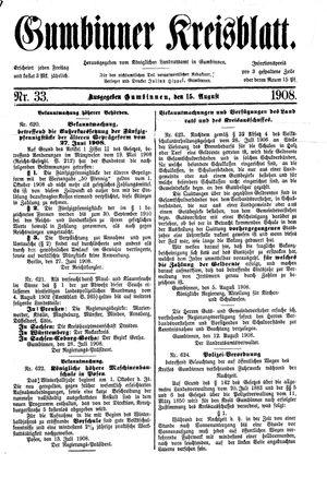Gumbinner Kreisblatt vom 15.08.1908