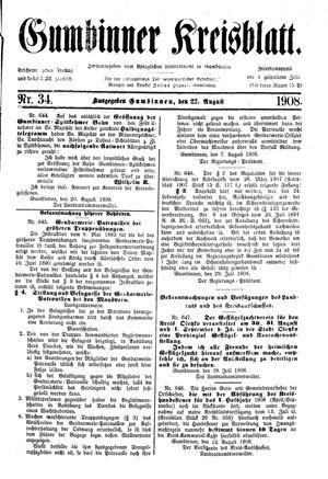 Gumbinner Kreisblatt vom 22.08.1908