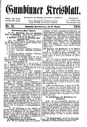 Gumbinner Kreisblatt vom 29.08.1908