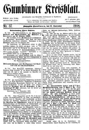 Gumbinner Kreisblatt vom 12.09.1908