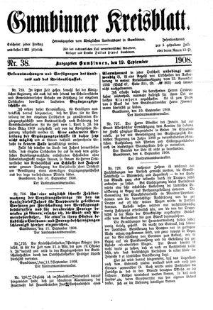 Gumbinner Kreisblatt vom 19.09.1908