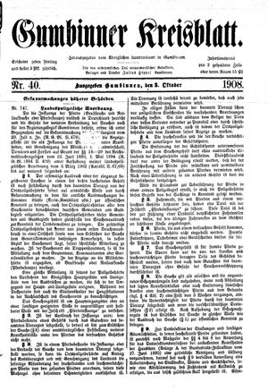 Gumbinner Kreisblatt vom 03.10.1908