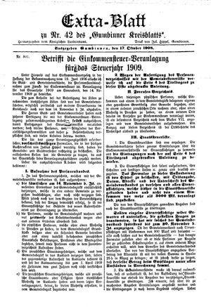 Gumbinner Kreisblatt vom 17.10.1908