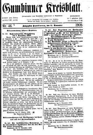 Gumbinner Kreisblatt vom 14.11.1908