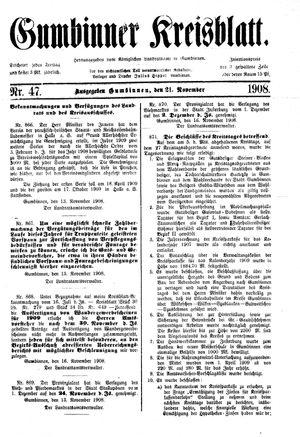 Gumbinner Kreisblatt vom 21.11.1908